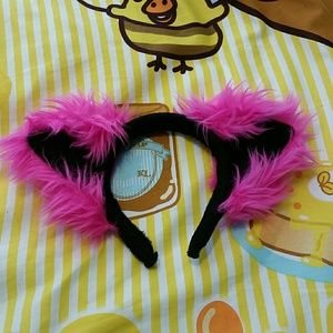 Pawstar Fluffy Pink & Black Cat Ears